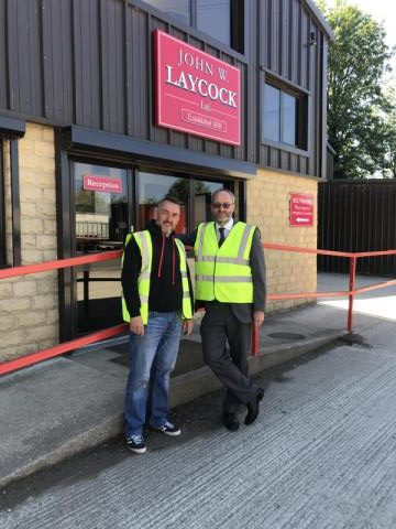 Mark & Gareth outside Laycocks' offices in Stockbridge, Keighley