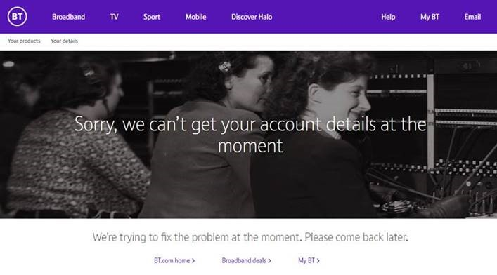 Screenshot - BT can't get to your details at the mo