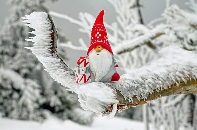 Cute cuddly Santa supported on snowy tree branch